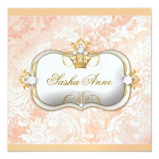 """311 Ciao Bella """"Peaches & Cream"""" Vintage Chic 5.25x5.25 Square Paper Invitation Card"""
