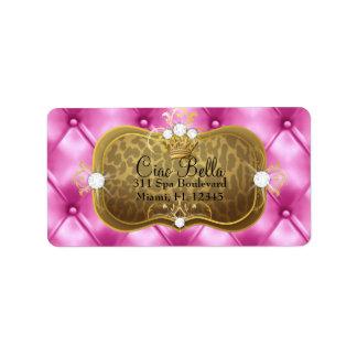311 Ciao Bella Pink Tuft Leopard Address Label