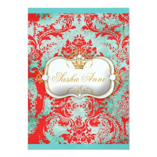 311 Ciao Bella Turquoise Rouge Vintage Ice Paper Invitations