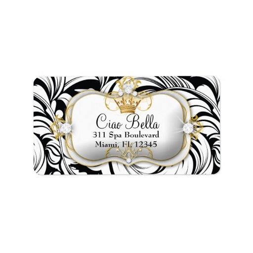 311 Ciao Bella White Leaves Damask Label