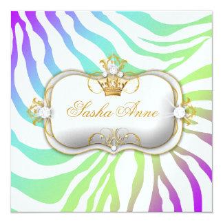 311 Ciao Bella Zebra Amethyst Rainbow Kiss 5.25x5.25 Square Paper Invitation Card