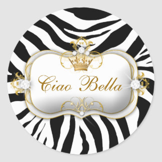 311 Ciao Bella Zebra Stripes Classic Round Sticker