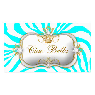 311-Ciao Bella Zebra Turquoise Business Card