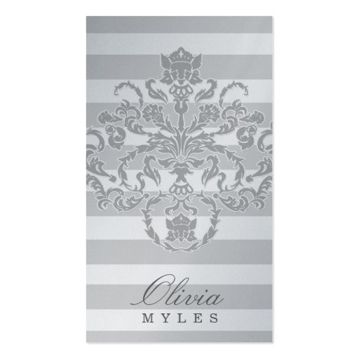 311-Classic Gray Nautical Mile Silver Metallic Business Cards