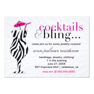 311 Cocktails & Bling Zebra Card