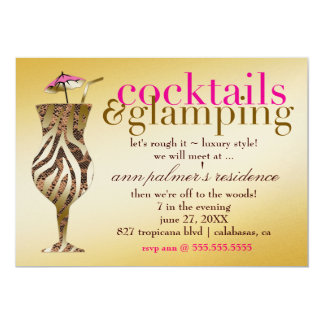 311 Cocktails & Glamping Gold Metallic 5x7 Paper Invitation Card
