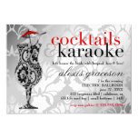 311 Cocktails & Karaoke Red Damask Customized Announcement Card
