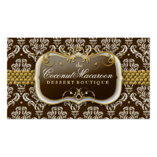311-Coconut Macaroon Damask Business Card