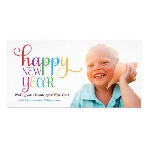 311 Colorful Happy New Year Card Personalized Photo Card