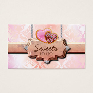 311 Cookies Bakery Cute Damask Peach Business Card