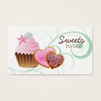 311 Cookies Cupcake Bakery Cute Swirl Modern green Business Card