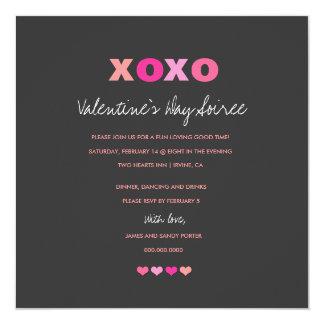 """311 corazones grises de XOXO en una fila Invitación 5.25"""" X 5.25"""""""