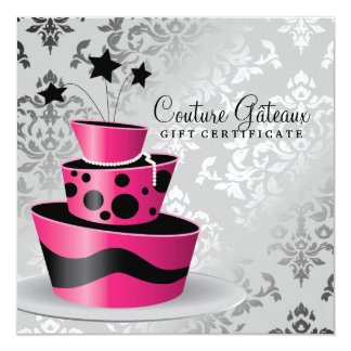 311 Couture Gâteaux Gift Certificate Hot Pink Custom Announcement