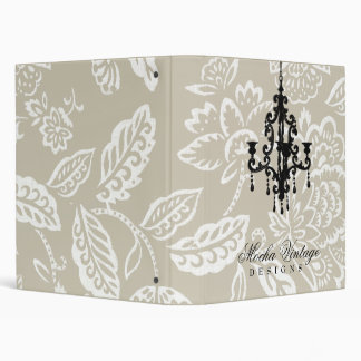 311-Creamy Mocha Vintage Damask Chandelier 3 Ring Binder
