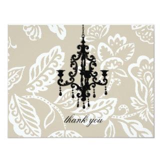 "311 Creamy Mocha Vintage Damask Chandelier 4.25"" X 5.5"" Invitation Card"