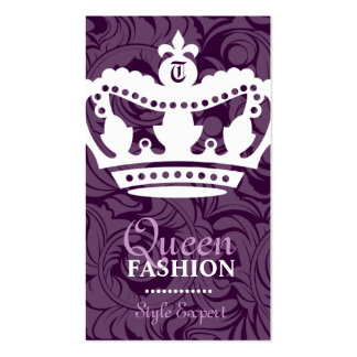 311-Crown Couture Monogram Deep Purple Business Cards