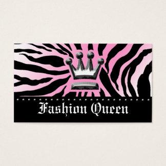 311-CROWN | ZEBRA PRINT LIGHT PINK BUSINESS CARD