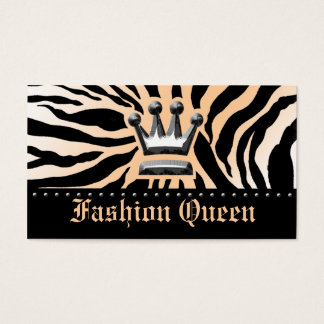 311-CROWN | ZEBRA PRINT PEACH BUSINESS CARD