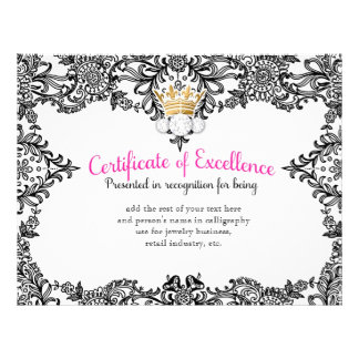 311 Crowning Certificate in Black Lace Letterhead