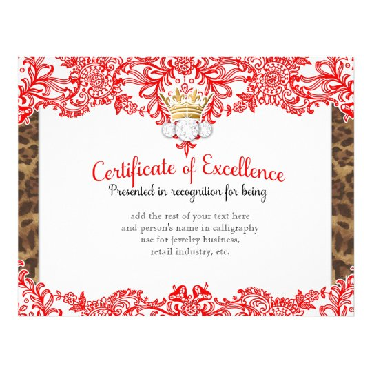 311 Crowning Certificate in Red Lace Letterhead