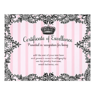 311 Crowning Certificate in Vintage Boutique Style Letterhead