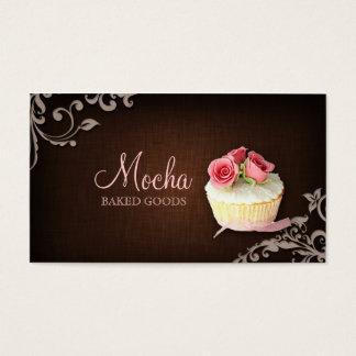 311 Cupcake Business Card Linen Brown Pink Roses