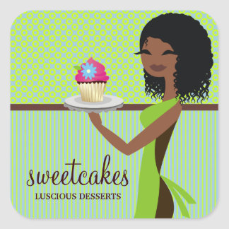 311 Cupcake Cutie Blue Green African American Square Stickers