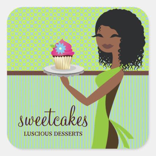 311 Cupcake Cutie Blue Green African American Square Stickers