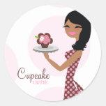 311-Cupcake Cutie Ethnic Wavy Hair Round Sticker