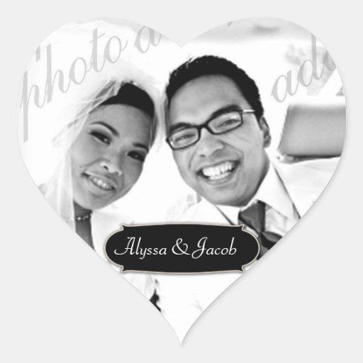 311-Customizable Heart Photo Sticker w/ Name Plate