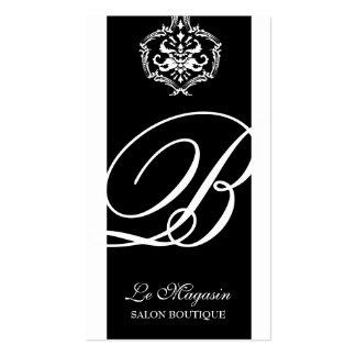 311-Dahlia Damask Monogram Black White Business Card