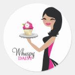 311-Daisy Cupcake Cutie | Wavy Brunette Round Stickers