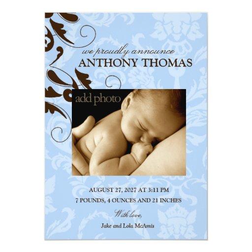 311-Damask Baby Boy Invite