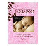 311-Damask Baby Girl Personalized Invite