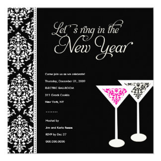 311-Damask Glass 2 | New Years Eve Personalized Announcements