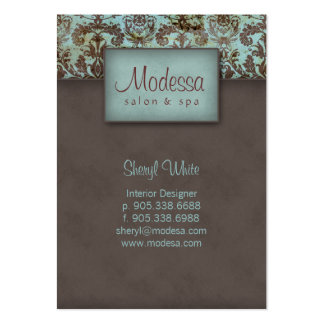 311 Damask Salon Spa Appointment Card Blue Brown Large Business Cards (Pack Of 100)