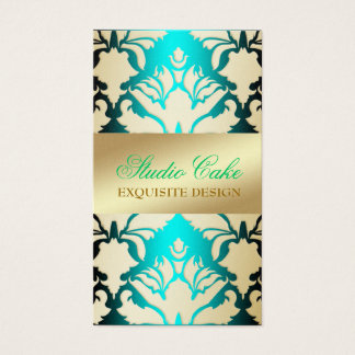 311 Damask Shimmer Aqua Sass Business Card