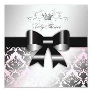 311-Damask Shimmer Black Bow Pink Baby Shower Card