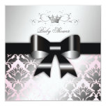 311-Damask Shimmer Black Bow Pink Baby Shower Personalized Announcement