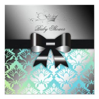 311-Damask Shimmer Black Bow Turq Lime Baby Shower Card