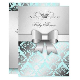 311 Damask Shimmer Bow Boy Blue Baby Shower Card