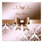 311 Damask Shimmer Bow Brown Pink Baby Shower Personalized Invites