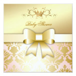 311 Damask Shimmer Bow Champagne Pink Baby Shower 5.25x5.25 Square Paper Invitation Card