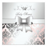 311 Damask Shimmer Bow Champagne Pink Baby Shower Personalized Invitation