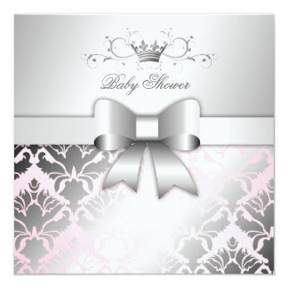 311-Damask Shimmer Bow Precious Pink Baby Shower Card