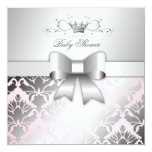 311-Damask Shimmer Bow Precious Pink Baby Shower Personalized Invitation
