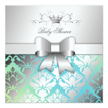 Toddler & Baby themed 311-Damask Shimmer Bow Turquoise Lime Baby Shower Card
