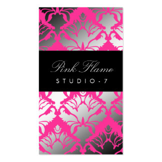 311 Damask Shimmer Pink Flame Double-Sided Standard Business Cards (Pack Of 100)