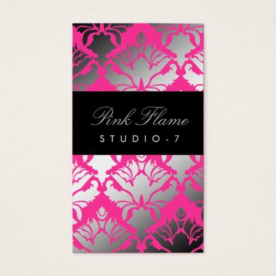 311 Damask Shimmer Pink Flame Plain Back Business Card