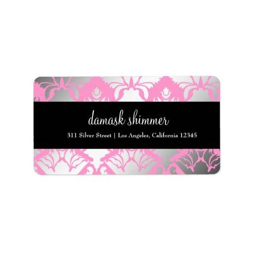 311 Damask Shimmer Pink Label Address Label